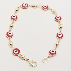 14K Gold Plated Red Evil Eye Bracelet. New